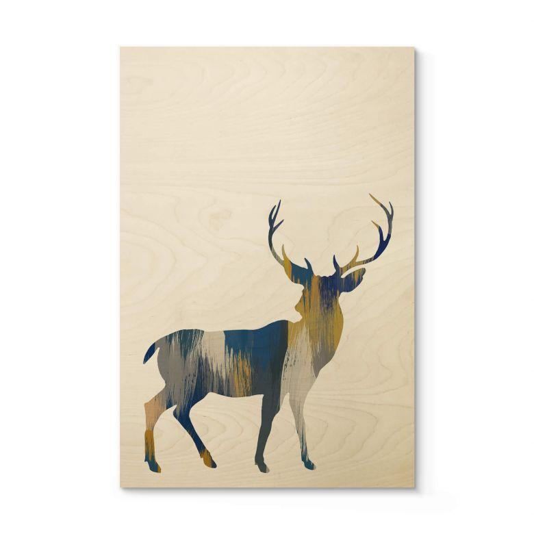Holzposter Orara Studio - Deer Blue and Yellow