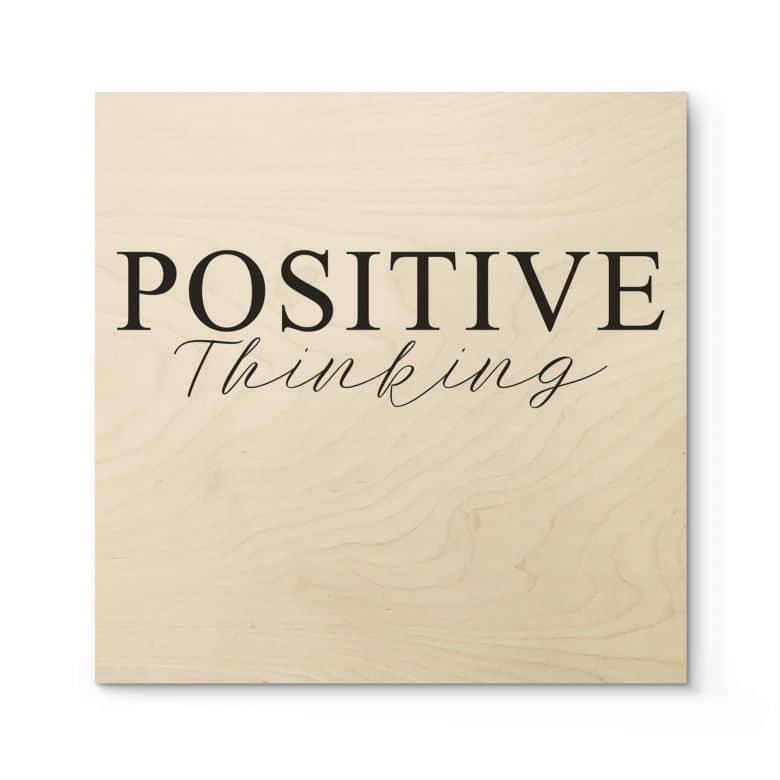 Houten Poster - Positive Thinking - vierkant