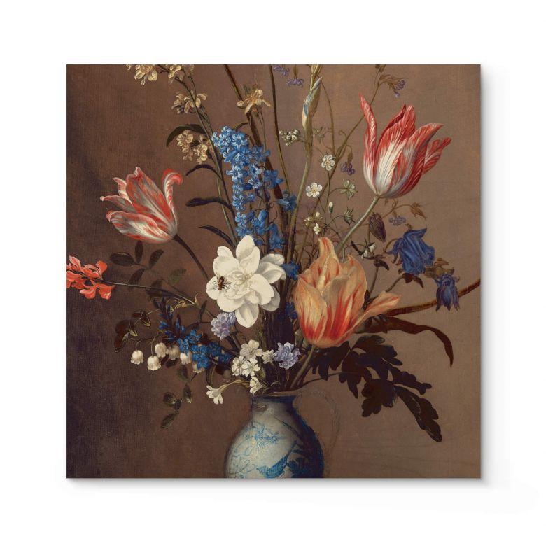 Holzposter Van der Ast - Blumen in einer Wan-Li Vase - Quadratisch