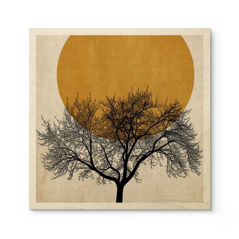 Holzposter Kubistika - Wintermorgen - Quadratisch