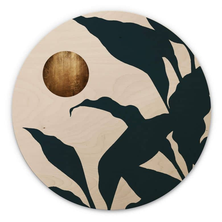 Holzbild Kubistika - In the jungle - Rund
