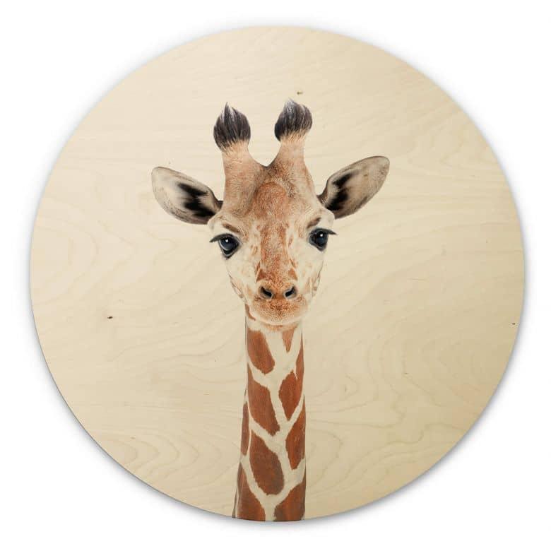 Holzbild Sisi & Seb - Baby Giraffe - Rund