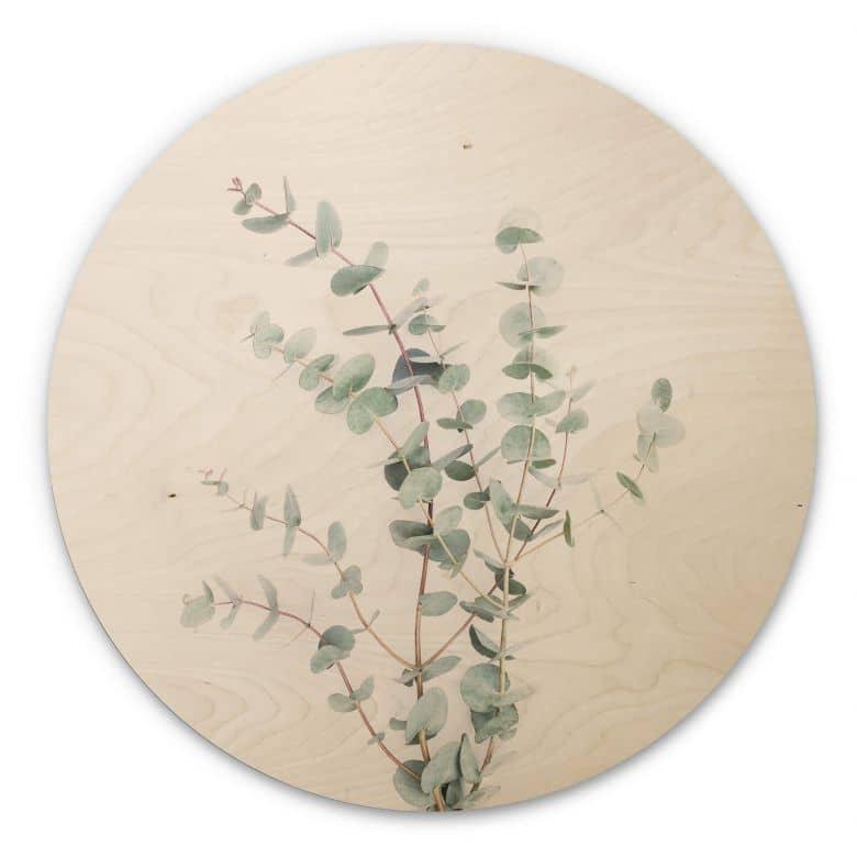 Tableau sur bois Sisi & Seb - Branche d'Eucalyptus - Rond