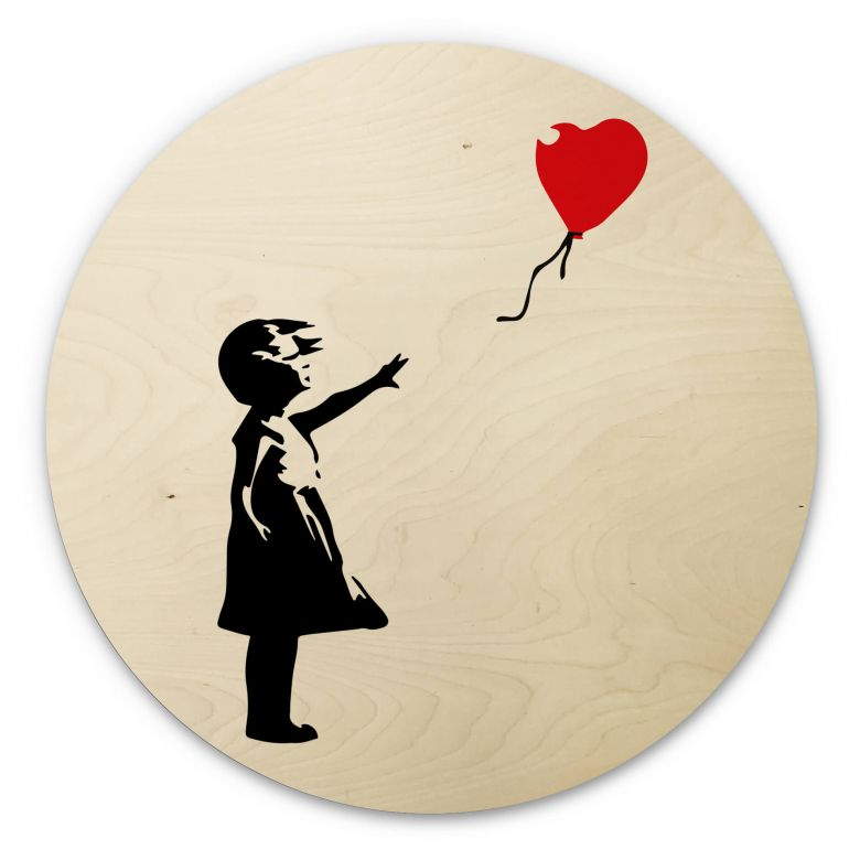 Wood circle shape - Banksy - Girl with red balloon