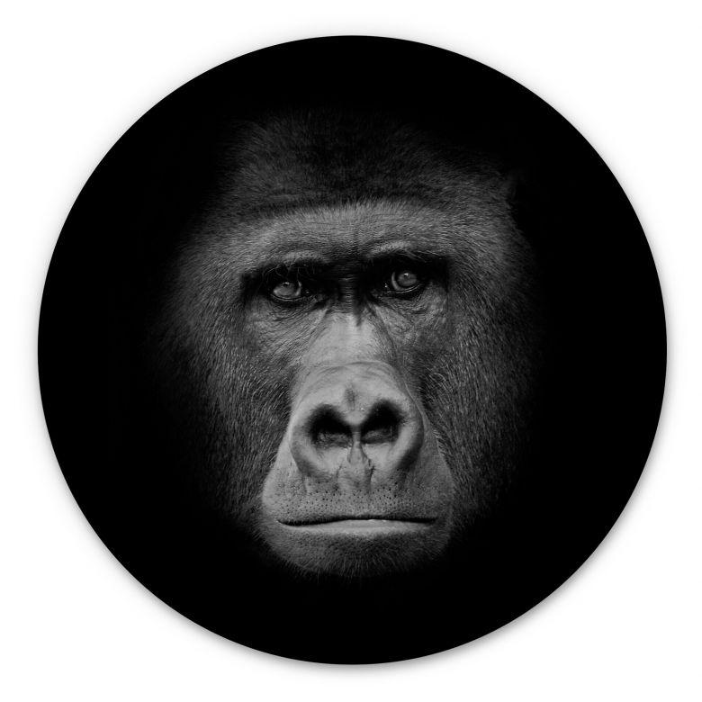 Wood picture Gorilla - Round