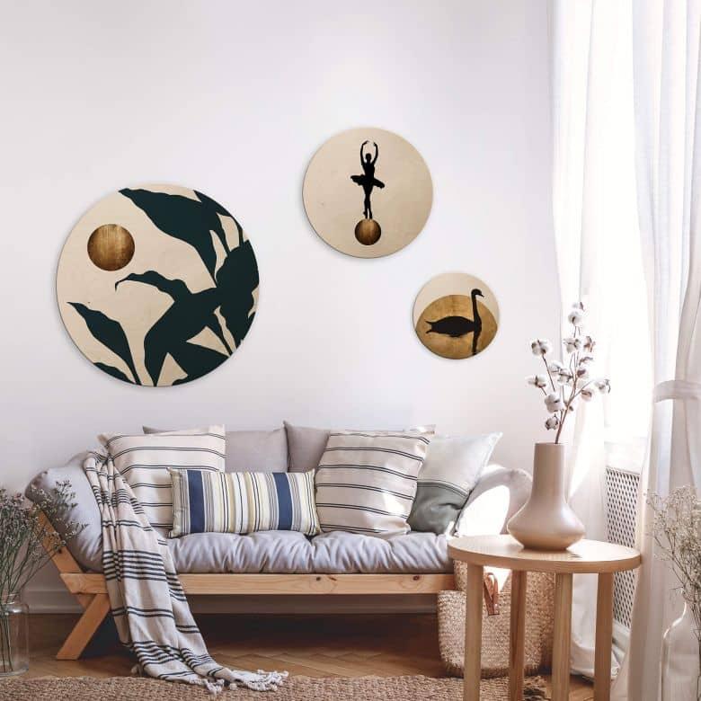 Holzbild Kubistika - Goldene Monde - 3er Set - Rund