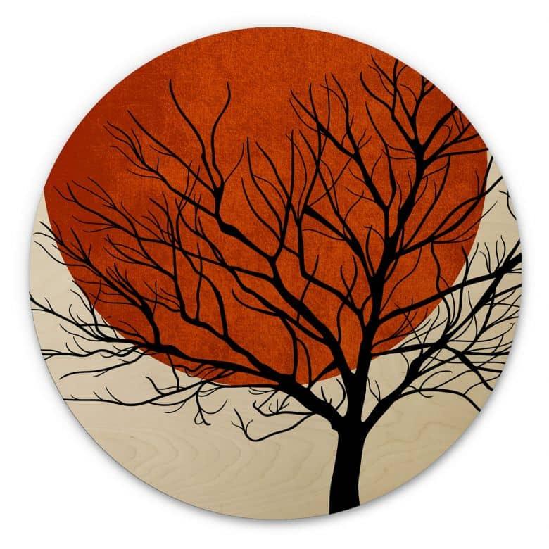 Holzbild Kubistika - Warmer Sonnenuntergang - rund