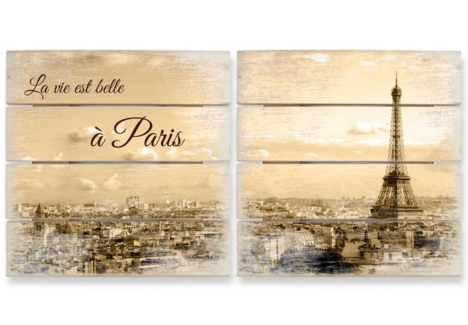 Holzbild-Set Paris Skyline (2-teilig)