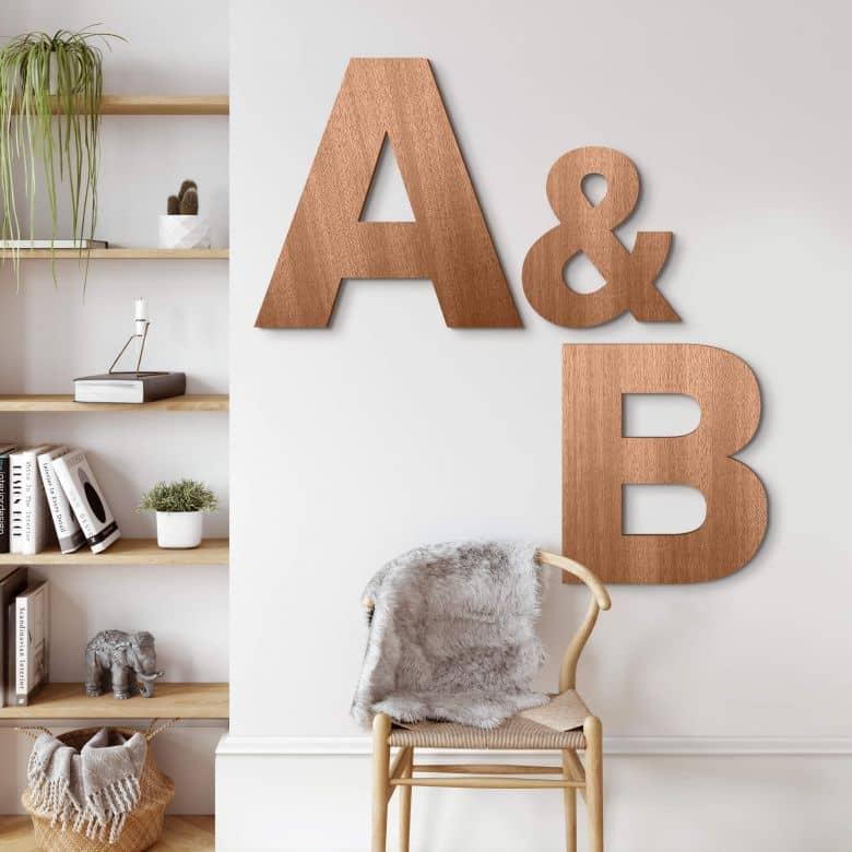 Lettres décoratives en bois d'acajou - Swiss