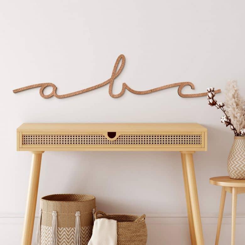 Lettres décoratives en bois acajou - Cursive