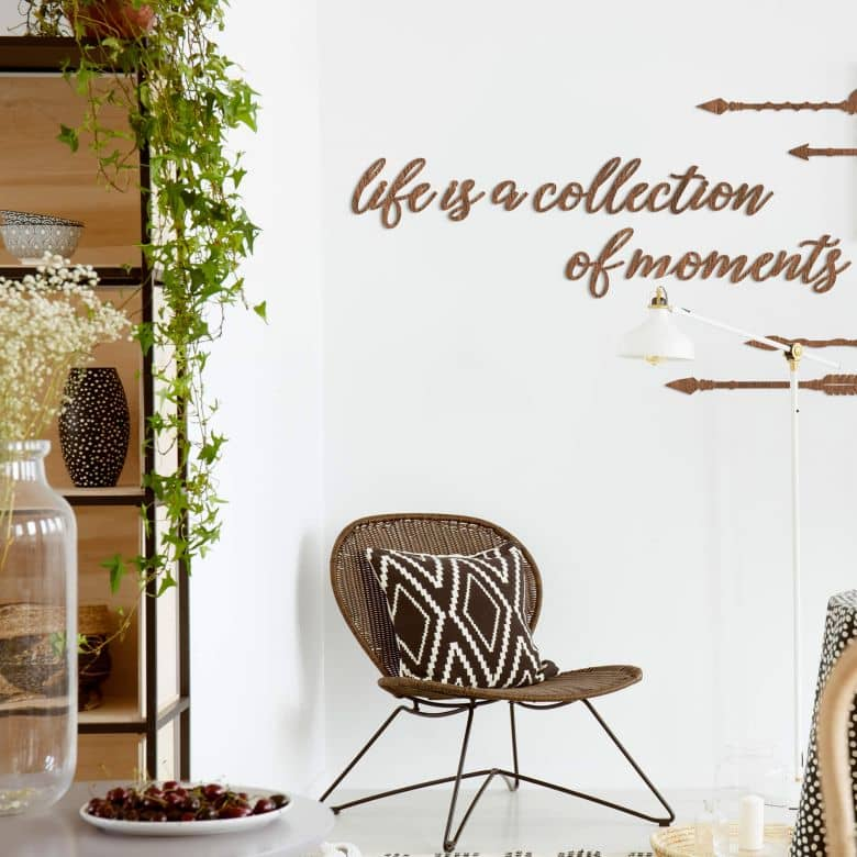 Decoratieletters - Mahonie fineer  - Life is a collection of moments