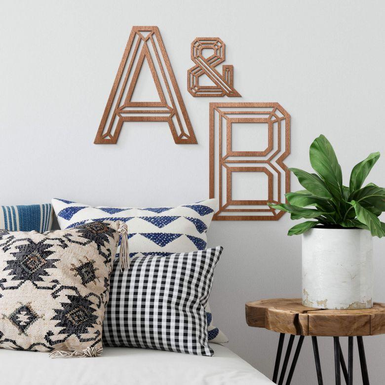 Lettres décoratives en bois acajou - Origami