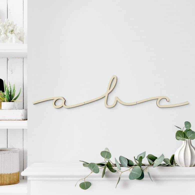 Lettres décoratives en bois de peuplier - Cursive