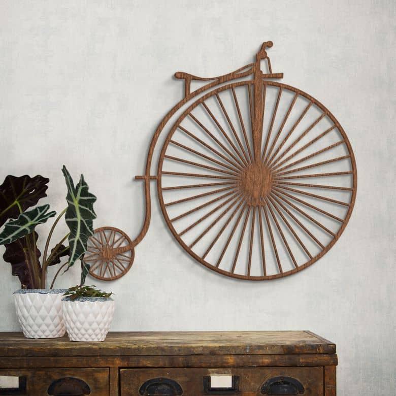 Décoration en bois - Bicyclette ancienne - Acajou