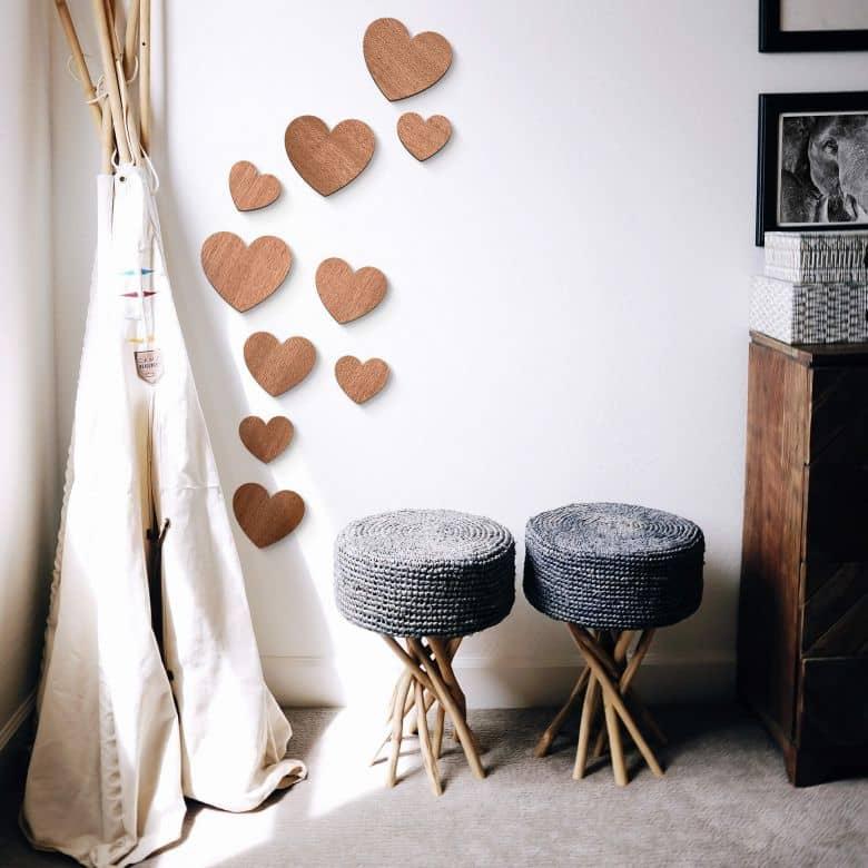 Holzdeko Mahagoni - Herzen Set (10-teilig)