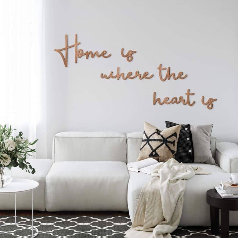 Houten Wanddecoratie Mahoniefineer Home is where the heart is