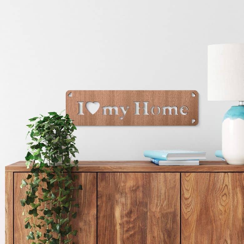 Décoration en bois -  I love my home - Placage d'acajou