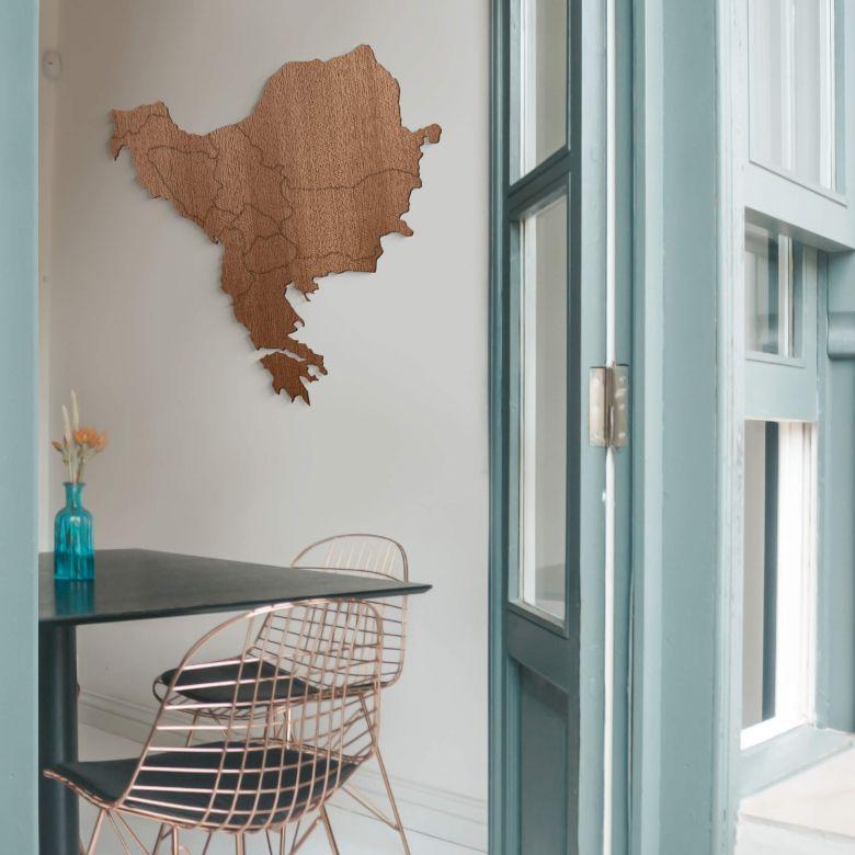Holzkunst Mahagoni Furnier - Karte Balkan Südosteuropa