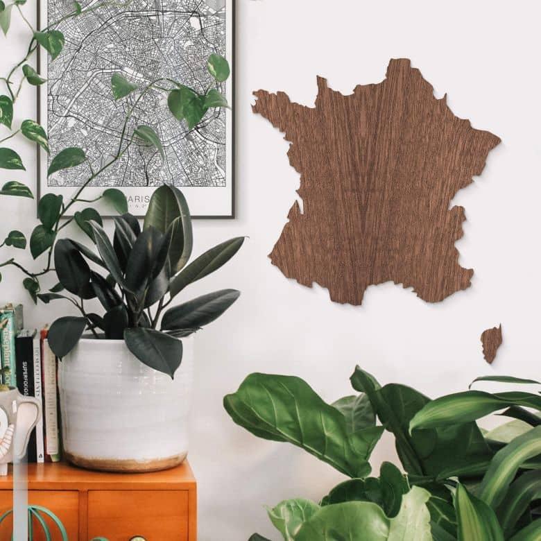 Décoration en bois acajou - Carte de France