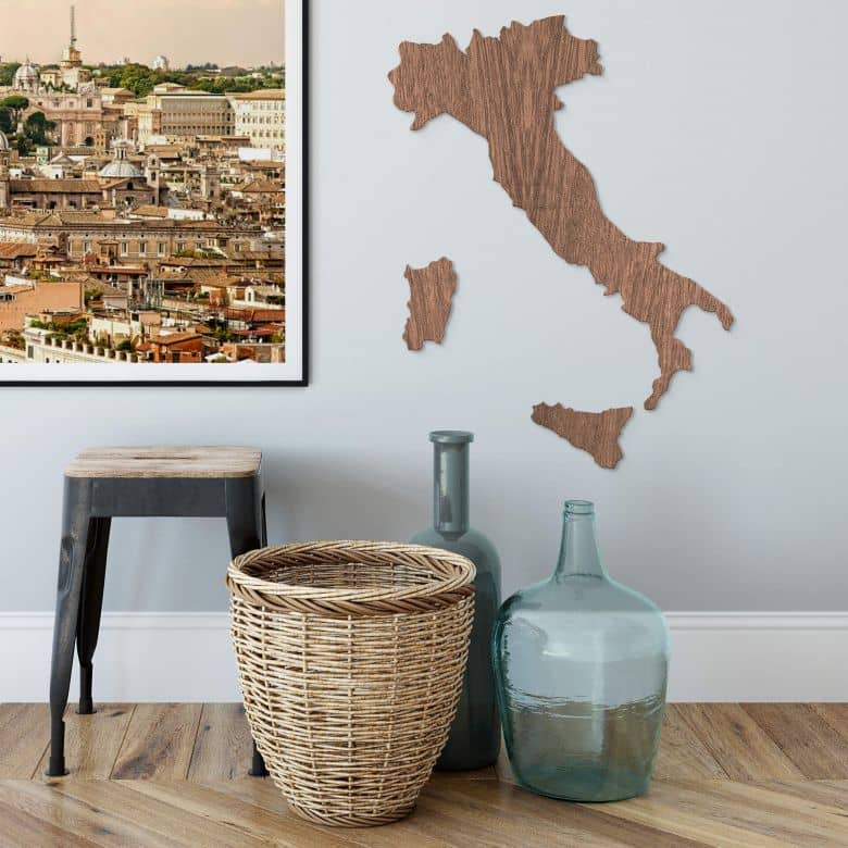 Map of Italy Wood - mahogany veneer
