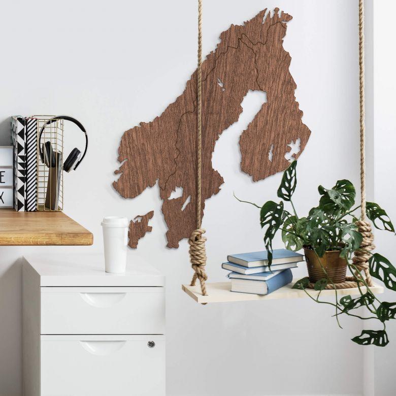 Décoration en placage bois d'acajou - Carte de la Scandinavie