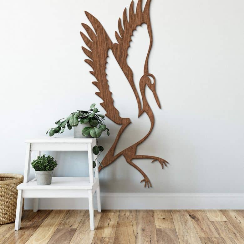 Holzkunst Mahagoni - Kranich stehend