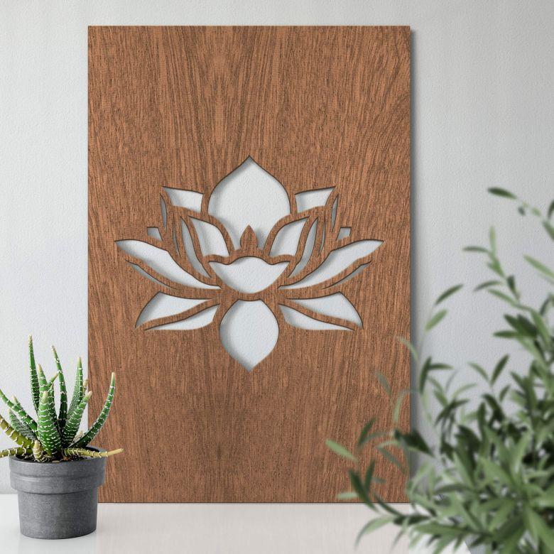 Holzkunst Mahagoni - Lotusblume