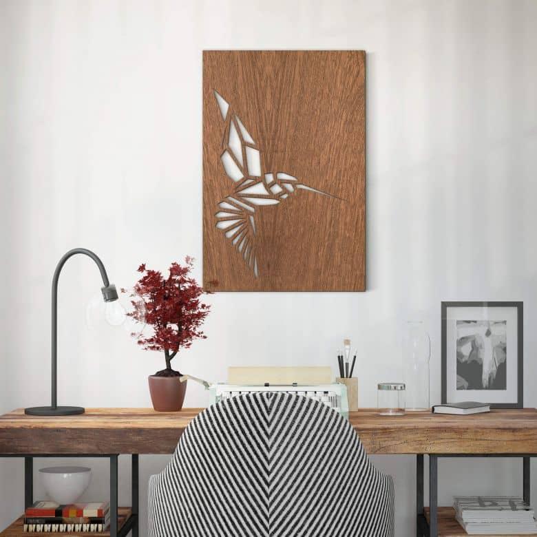 Houten Wanddecoratie Mahoniefineer - Origami Kolibrie
