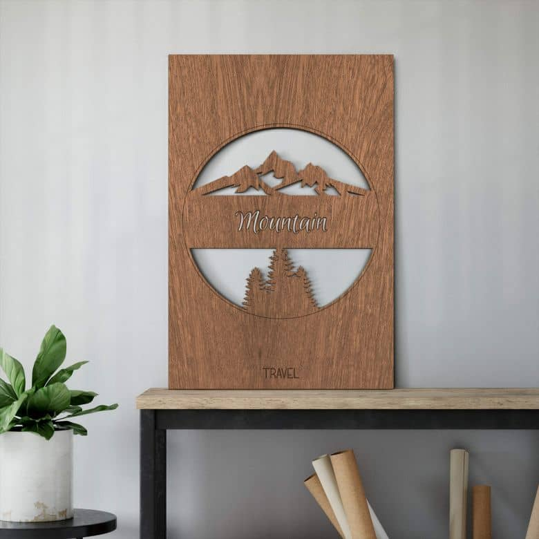 Houten Wanddecoratie Mahoniefineer Travel Mountain Wall Art Nl
