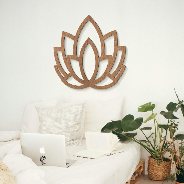 Holzdeko Mahagoni - Yoga Lotusblume