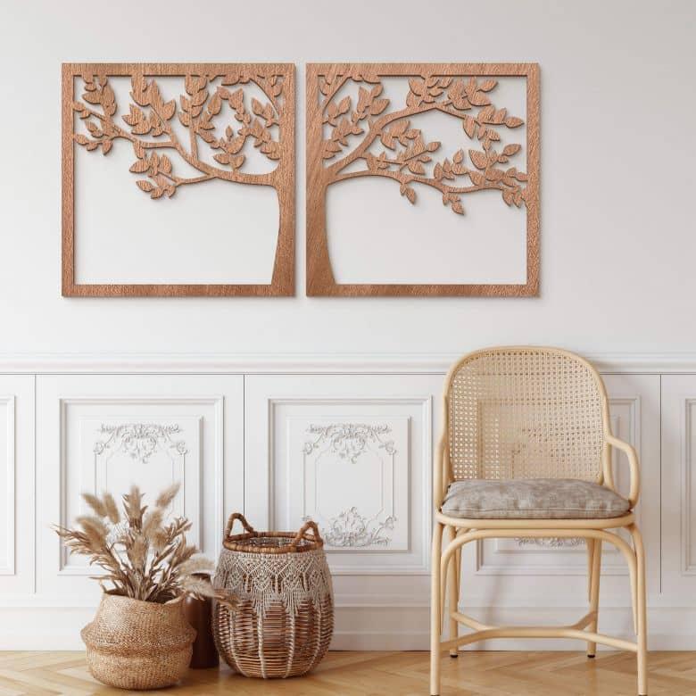 Houten Decoratie Raam Met Boom 2 Delig Wall Art Nl