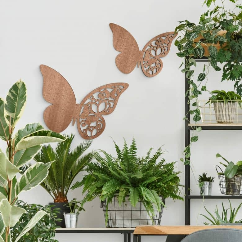 Holzdeko Mahagoni - Schmetterling Floral