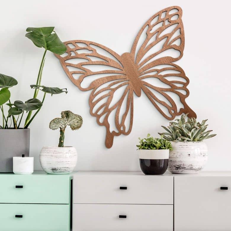Décoration en bois - Papillon Isabella - Placage bois acajou