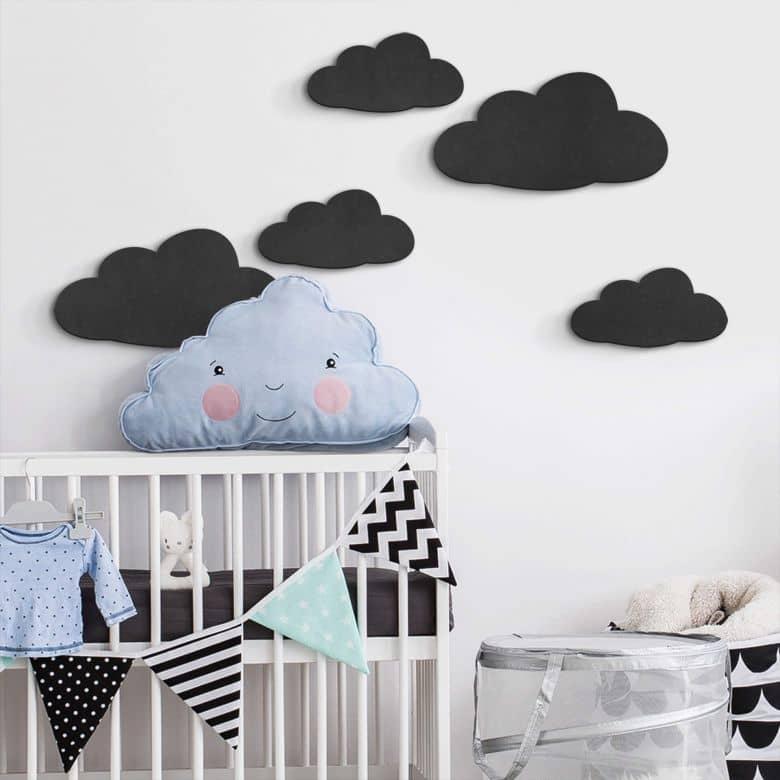 MDF - Holzdeko - Wolken-Set (5-teilig)