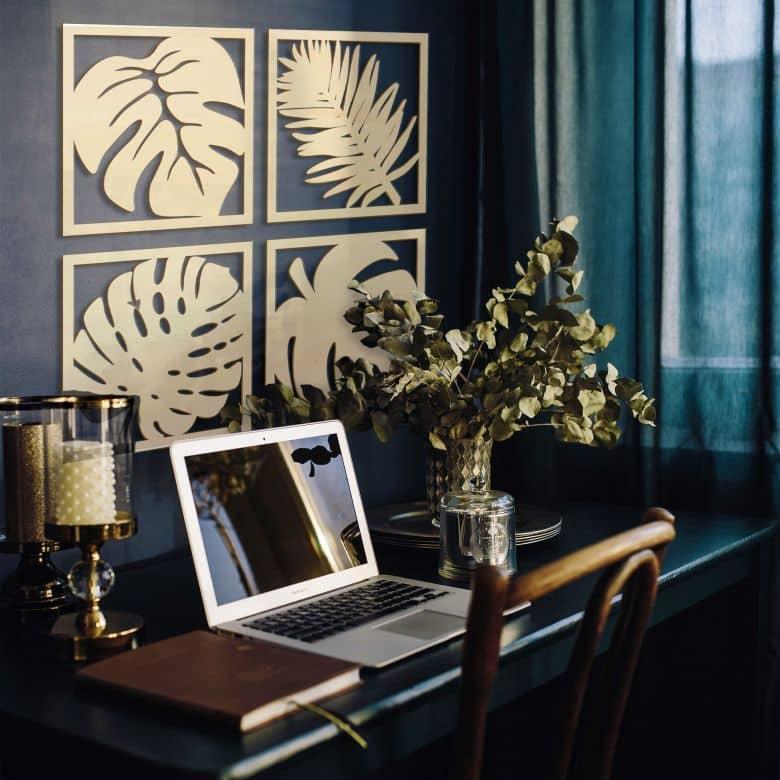Holzkunst  Pappel - Blätter Tropical Set