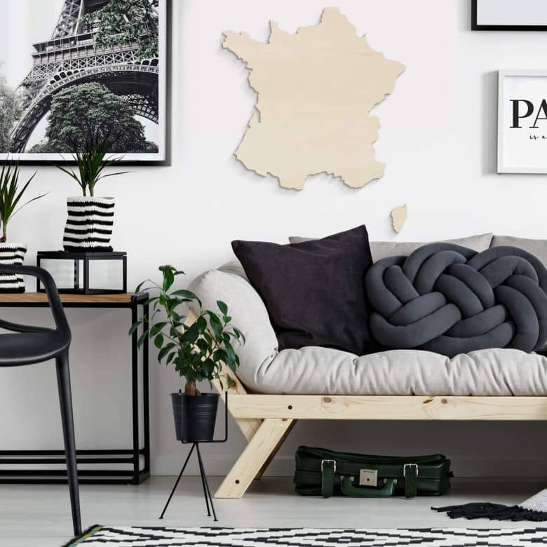 Houten kaart van Frankrijk - populierenhout