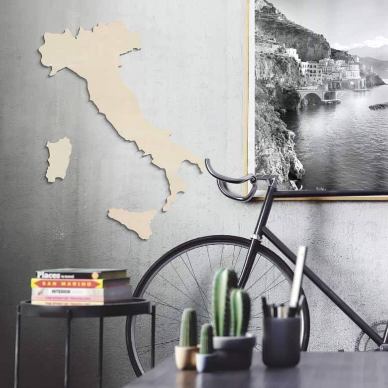 Houten Kaart Italië - populierenhout