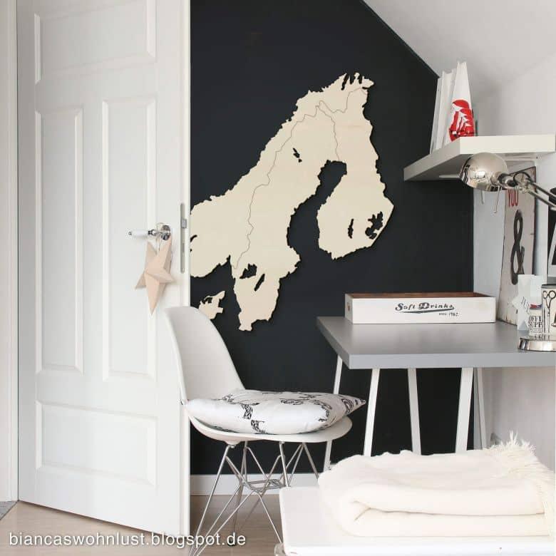 Décoration en placage bois de peuplier - Carte de la Scandinavie