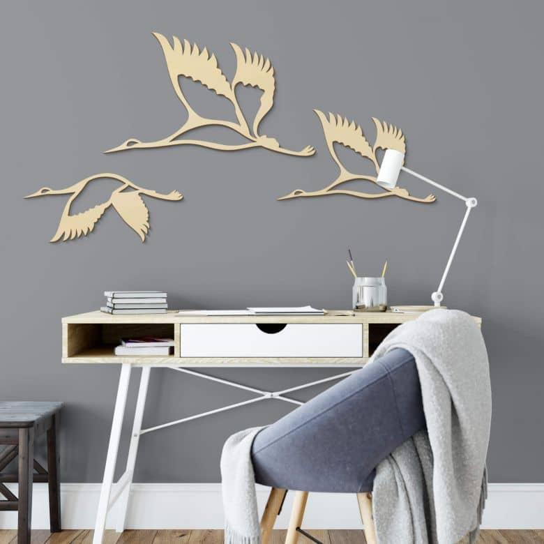 Holzkunst Pappel - Kraniche - Vogelschwarm 02