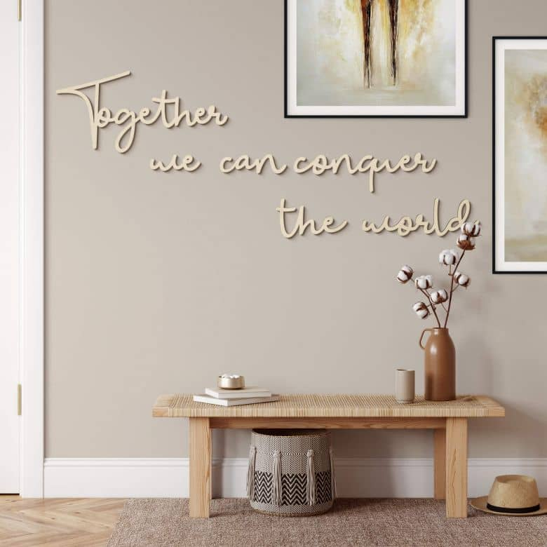 Holzbuchstaben Pappel - Together we can conquer the world (6-teilig)