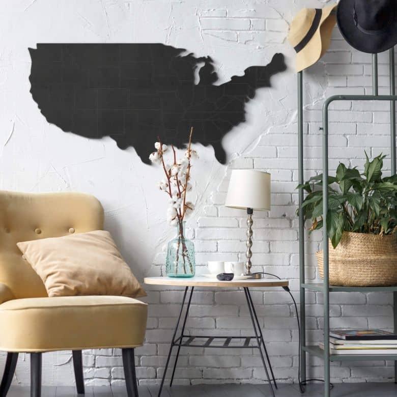 MDF - Holzdeko - Karte USA mit Ländergrenzen