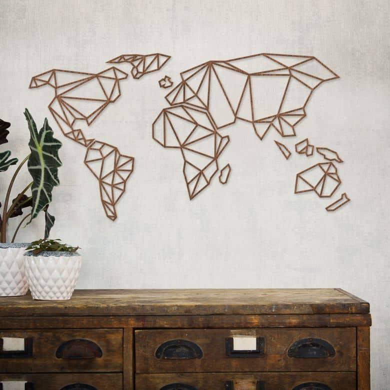 3D Wereldkaart van mahoniehout - origami