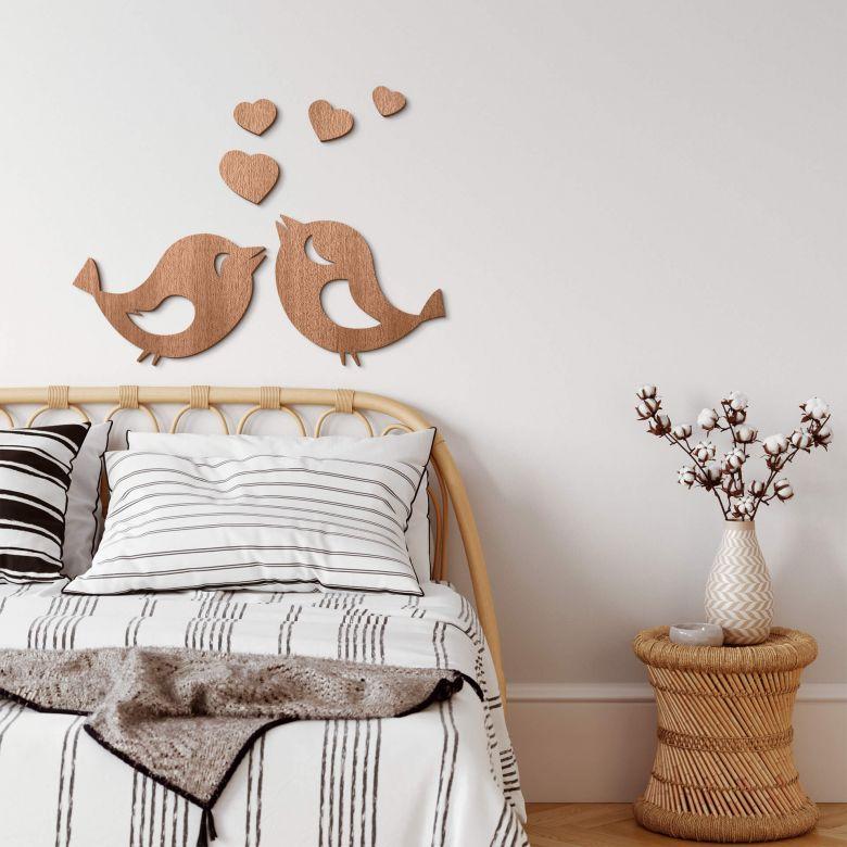 Décoration en bois - Piou piou d'amour - Placage d'acajou