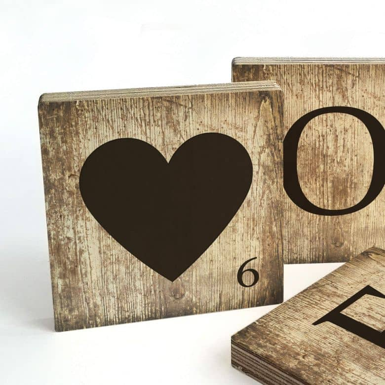 Scrabble Letter - Heart - Vintage