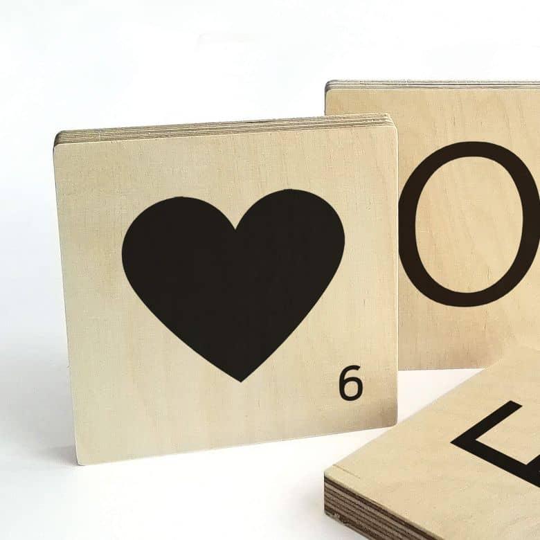 Lettre Scrabble - Coeur