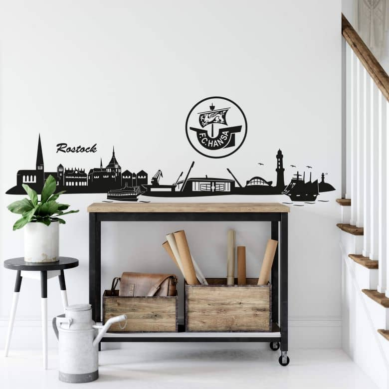 Wandtattoo Hansa Rostock Skyline - Logo einfarbig