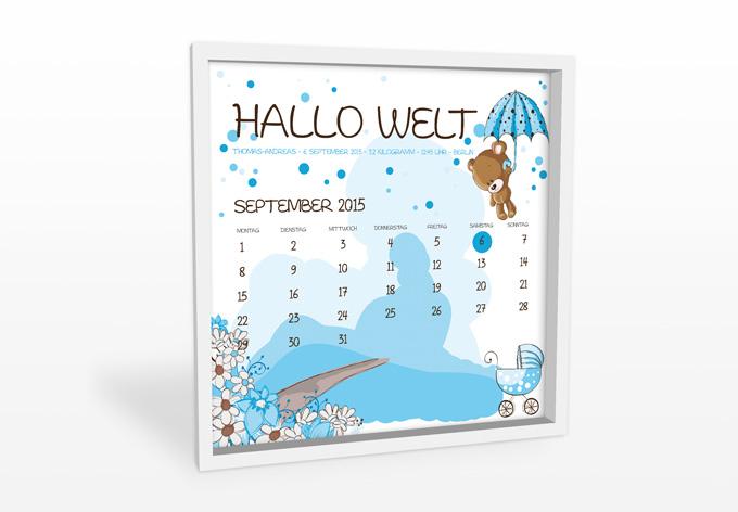 Wandbild + Wunschtext - Hallo Welt - Junge