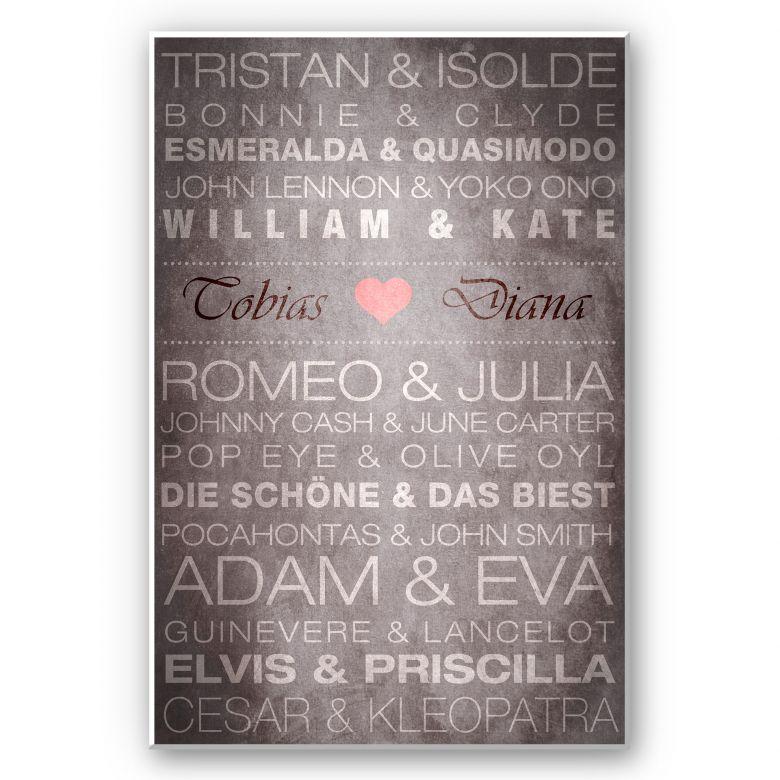 Wandbild + Wunschtext - Famous Couples