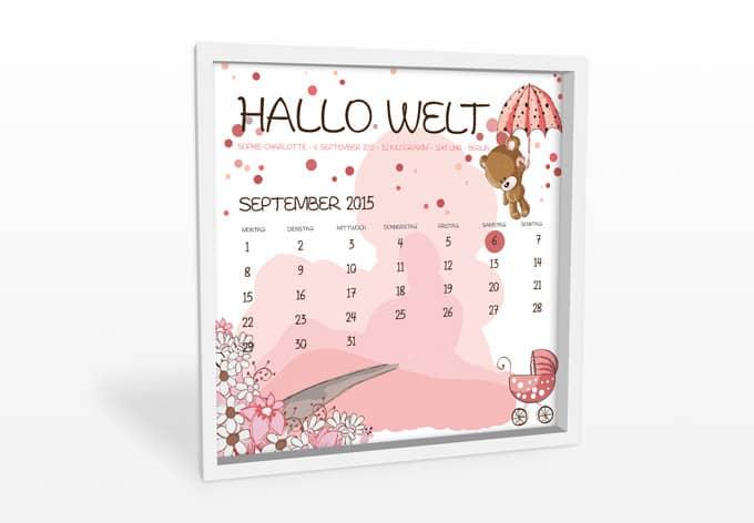 Wandbild + Wunschtext - Hallo Welt - Mädchen