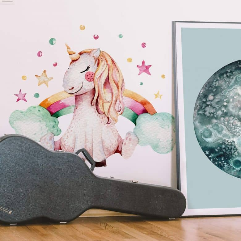 Wall sticker Kvilis - Unicorn with rainbow
